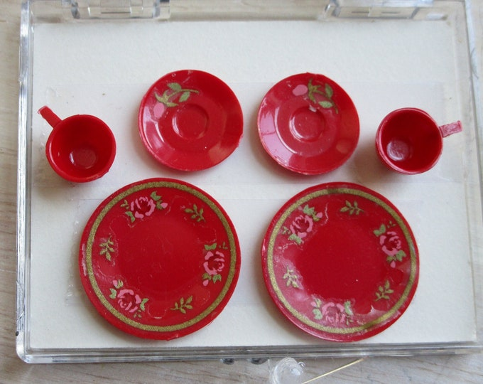 Miniature Place Setting Set, Red Decorated Dish Set, 6 Pieces, Plates, Cups and Saucers, Style #65R, Dollhouse Miniature, 1:12 Scale