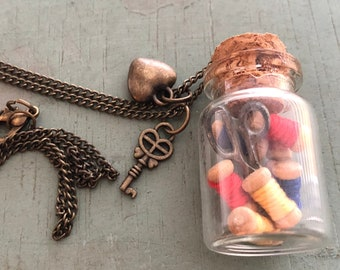 Glass Cork Top Jar Necklace, Jar Filled With Mini Thread Spools and Scissors, Style #JF3, Sewing Lover Necklace, Gift, Chain & Charms