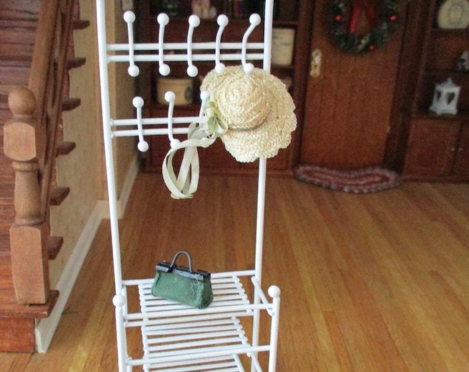 Miniature Shelf Unit With Hooks, White Metal Rack, Dollhouse Miniature Furniture, 1:12 Scale, Mini Shelves, Dollhouse Shelf Rack