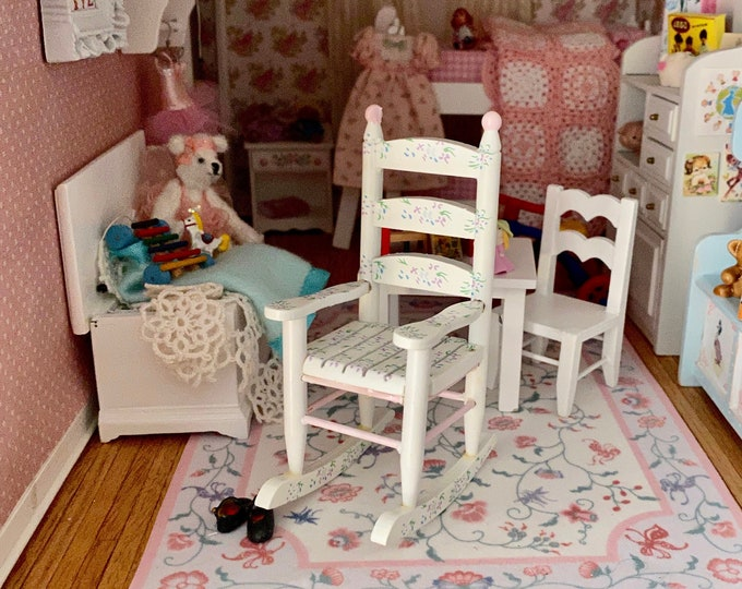 Miniature Painted Rocking Chair, Pink, White Floral Rocker, Dollhouse Miniature Furniture, 1:12 Scale, Mini Rocker