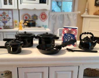 Miniature Black Pots and Pans Set, Mini 10 Piece Cookware Set With Teapot & Spatulas, Dollhouse Miniatures, Accessories