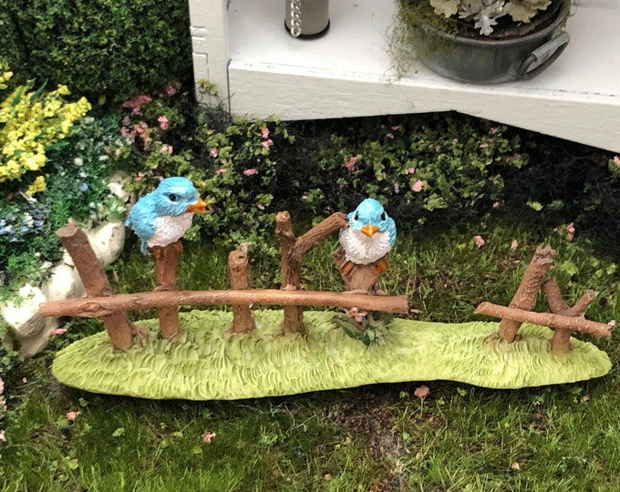 Birds on Fench Figurine, Mini Blue Birds on Wood Fence, Fairy Garden Accessory, Miniature Garden Decor, Clearance Priced
