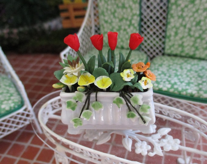 Miniature Flower Arrangement, Mini Tulips & Mixed Flowers In White Footed Planter Window Box, Style #69, Dollhouse Miniature, 1:12 Scale
