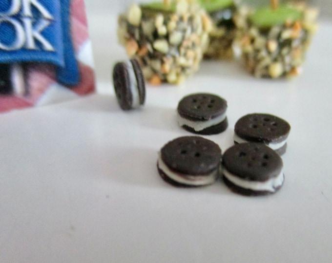 Miniature Sandwich Cookies, Mini Chocolate Cookies, 5 Pc Set, Style #10, Dollhouse Miniature, 1:12 Scale, Mini Food, Dollhouse Accessory