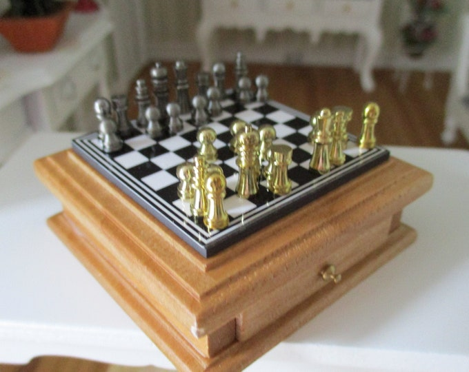 Miniature Chess Set, Table Chess Set, Oak Magnetic Board With Storage Drawer, Dollhouse Miniature, 1:12 Scale