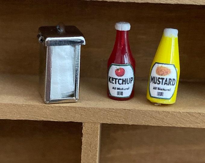 Miniature Condiment Set, Napkin Dispenser, Ketchup and Mustard Bottle, Dollhouse Miniatures, 1:12 Scale, Dollhouse Food, Accessory, Decor