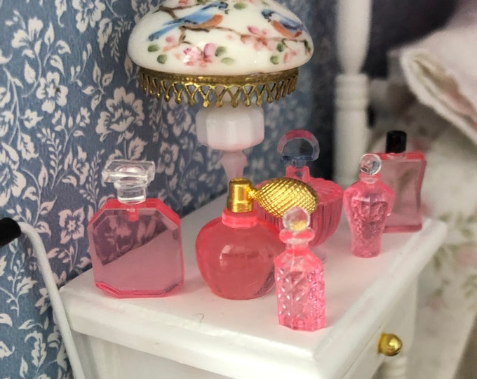 Miniature Perfume Bottles, 6 Piece Set, Mini Pink Bottles, Dollhouse Miniature, 1:12 Scale, Dollhouse Accessory, Decor, Crafts