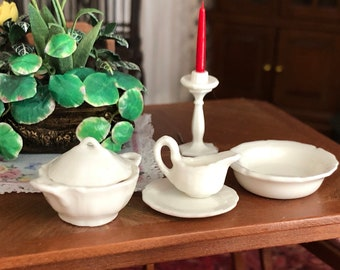 Miniature Dishes Set, Dining Accessories, Covered Dish, Gravy Boat, Bowl, Saucer, Dollhouse Miniatures, 1:12 Scale, White Dishes, 4 PC Set