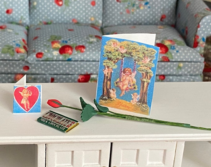 Miniature Valentine Set, Cards, Rose and Chocolate Bar, 4 Piece Set, Dollhouse Miniatures, 1:12 Scale, Dollhouse Holiday Decor