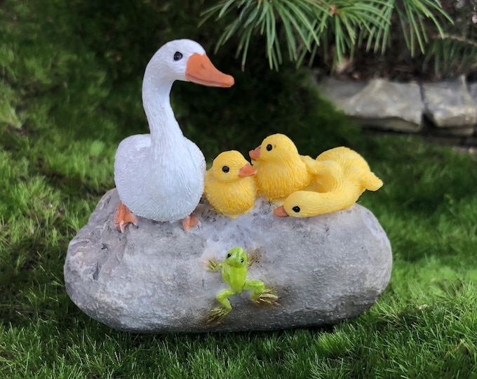 Mother Duck With Ducklings Figurine, Ducks on Rock With Frog #48, Fairy Garden Accessory, Home & Garden Decor, Shelf Sitter, Topper, Gift