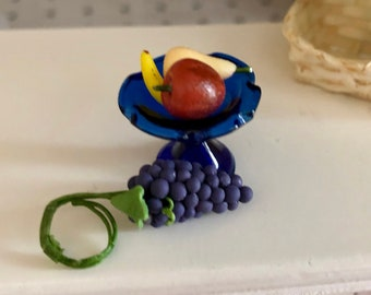 Miniature Blue Pedestal Bowl With Fruit, Mini Fruit Bowl, Dollhouse Miniature, 1:12 Scale, Dollhouse Accessory, Mini Food, Decor, Crafts