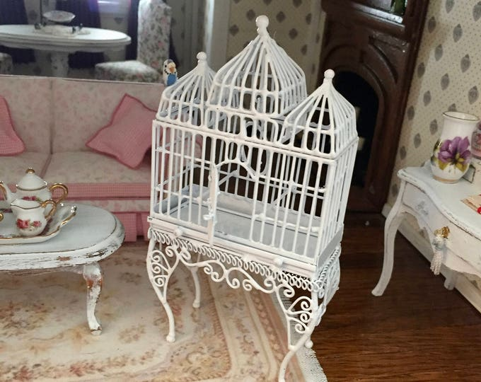 Miniature Bird Cage, Large White Wire Fancy Cage With Hinged Door and Swing, Dollhouse Miniature, 1:12 Scale, Mini Cage