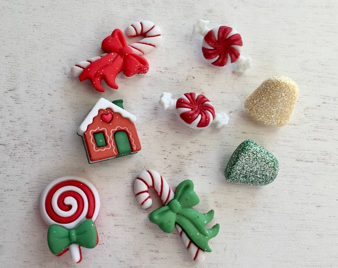 "Christmas Candy and Sweets Buttons, Novelty Button Package by Buttons Galore, ""Holiday Sweets"" Style 4790, Assortment Pack"