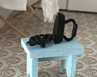 Miniature Iron and Trivet, Black Flat Iron With Trivet, Dollhouse Miniature, 1:12 Scale, Mini Vintage Style Iron and Trivet Stand