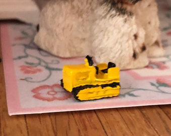 Miniature Bull Dozer, Miniature Toy, Dollhouse Miniature, 1:12 Scale, Dollhouse Accessory, Decor, Crafts, Mini Yellow Toy Bulldozer