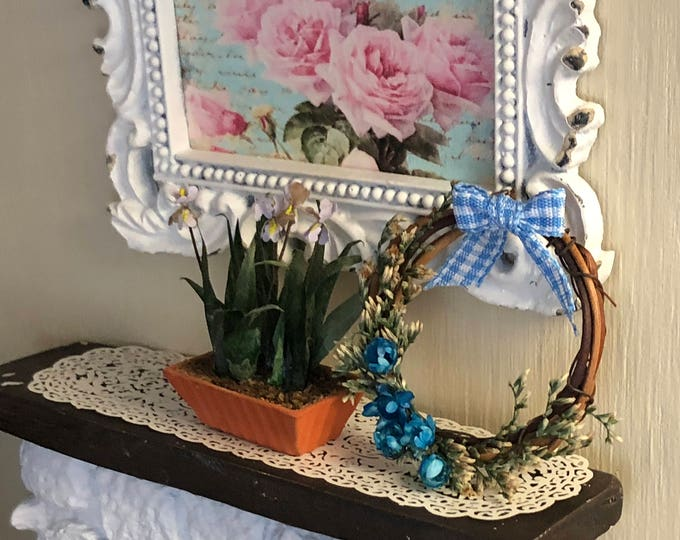 Miniature Wreath, Decorated Grapevine Wreath, Blue Flowers and Bow, Dollhouse Miniature, 1:12 Scale, Dollhouse Decor, Accessory