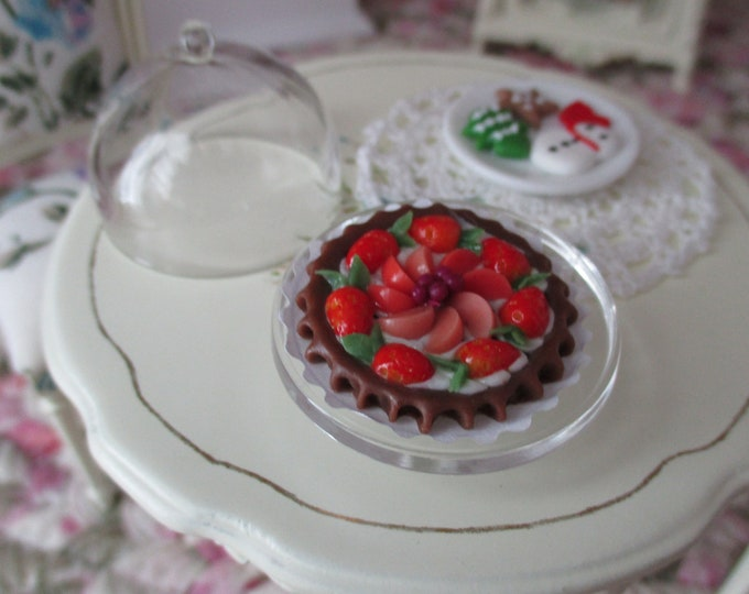 Miniature Pie and Stand, Mixed Fruit Pie Tart With Covered Stand, Style #96, Dollhouse Miniature, 1:12 Scale, Dollhouse Accessory, Decor