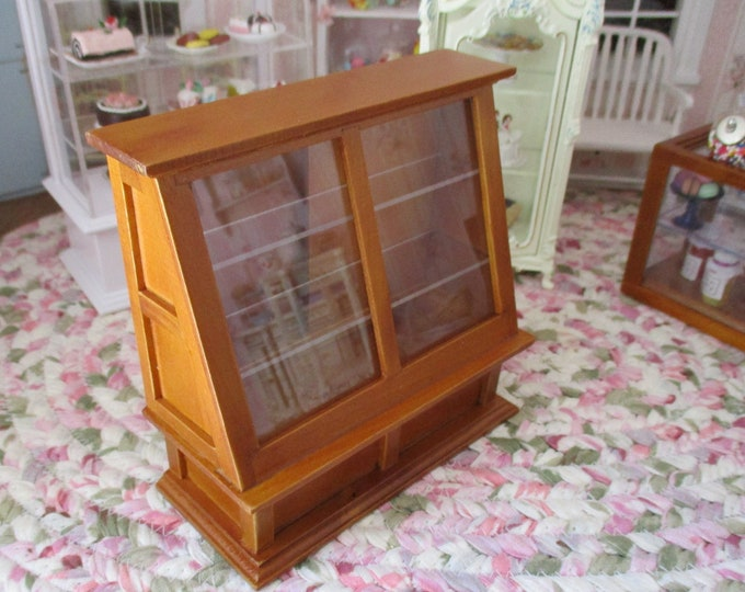 Miniature Store Display Case, Mini Wood Cabinet Display With Shelves, Sliding Doors, Style #27, Dollhouse Miniature Furniture, 1:12 Scale