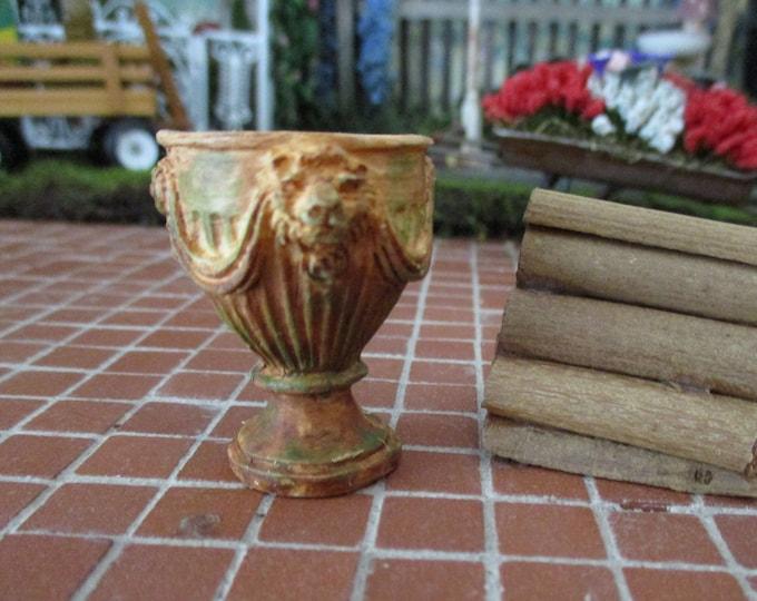 Miniature Aged Stone Look Garden Urn, Lion Head Flower Pot Pedestal Urn, Style #50AG, Dollhouse Miniature, 1:12 Scale