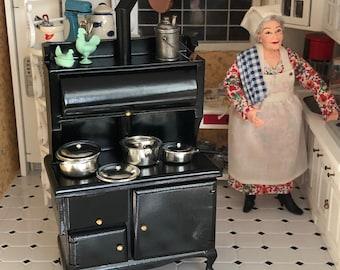 Miniature Stove, Black Wood Stove, Dollhouse Miniature, 1:12 Scale Miniature, Dollhouse Kitchen, Kitchen Stove, Mini Vintage Style Stove