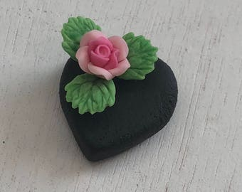 Miniature Chocolate Heart Cake With Pink Rose, Dollhouse Miniature, 1:12 Scale, Mini Food, Play Food, Dollhouse Food, Valentine Decor