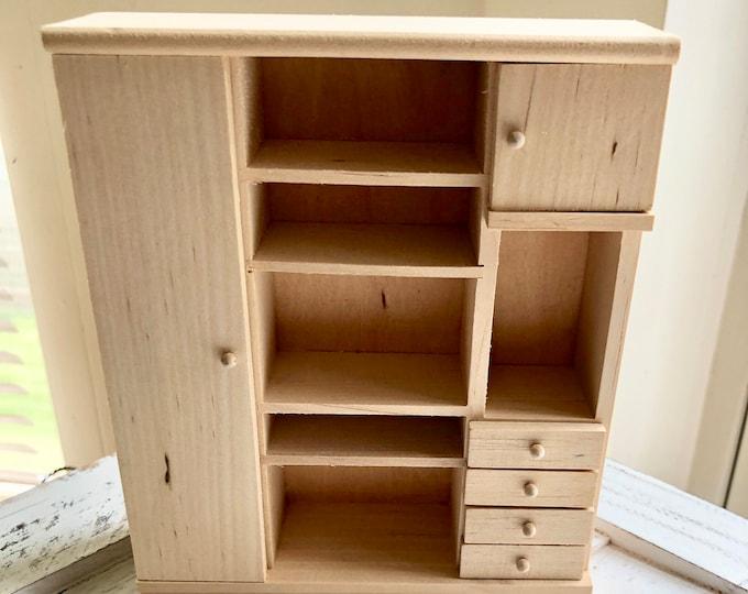 Miniature Unfinished Closet, Mini Storage Unit, Wood Closet, Dollhouse Miniature Furniture, 1:12 Scale, Dollhouse Wardrobe