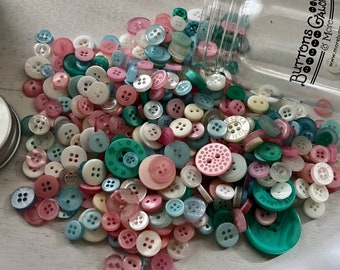 "Hand Dyed Buttons, ""Fantasy"", Mixed Buttons, 200 Buttons, Plastic Mini Mason Jar by Buttons Galore, 2 & 4 Hole Assortment"