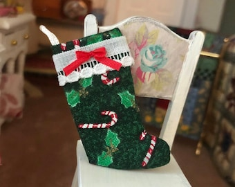 Miniature Stocking, Candy Cane Fabric with Trim and Bow, Dollhouse Miniature, 1:12 Scale, Fabric Stocking, Dollhouse Holiday Decor