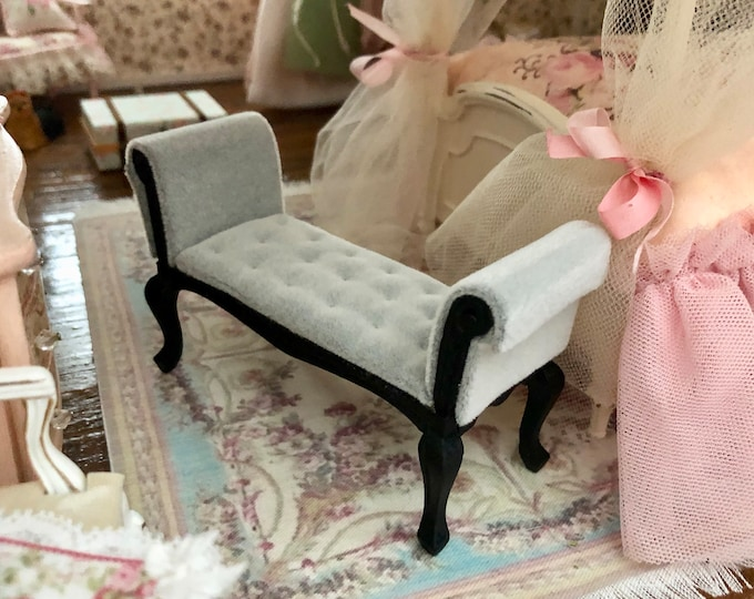 Miniature Settee, Black With Gray Cushion, Mini Bench Seat, Dollhouse Miniature, 1:12 Scale, Dollhouse Furniture