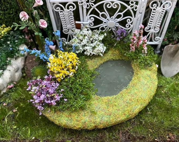 Miniature Garden Pond, Pretty Victorian Garden Pond, Dollhouse Miniature, 1:12 Scale, Dollhouse Garden Decor, Accessory