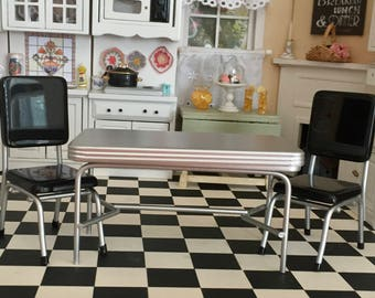Miniature Retro Silver Kitchen Table & Black Chair Set, 1950's Style Kitchen Set, Dollhouse Miniature Furniture, 1:12 Scale