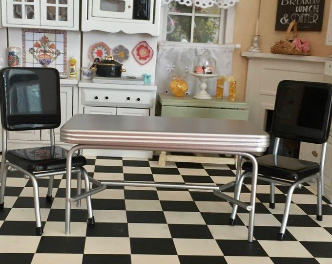 Miniature Retro Silver Kitchen Table & Black Chair Set, 1950's Style Kitchen Set, Dollhouse Miniature Furniture, 1:12 Scale