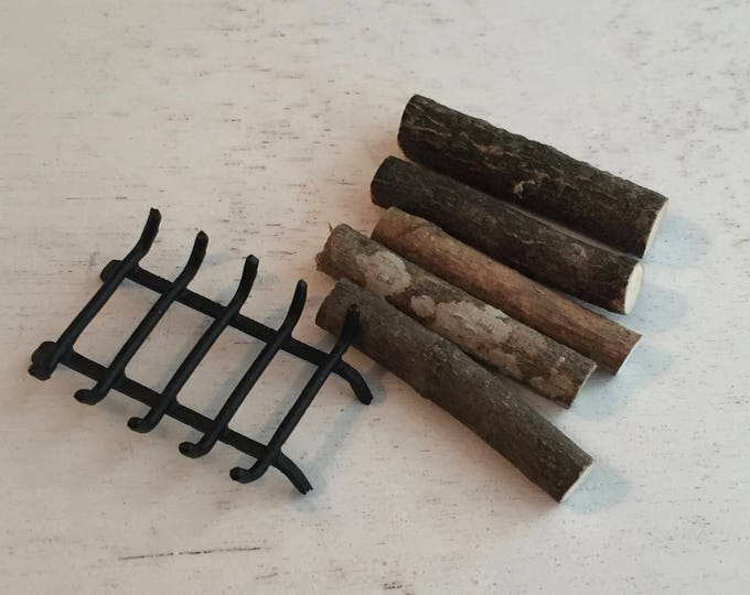 Miniature Fireplace Grate With Logs, Mini Firewood, Black Grate, Dollhouse Miniatures, 1:12 Scale, Dollhouse Accessory