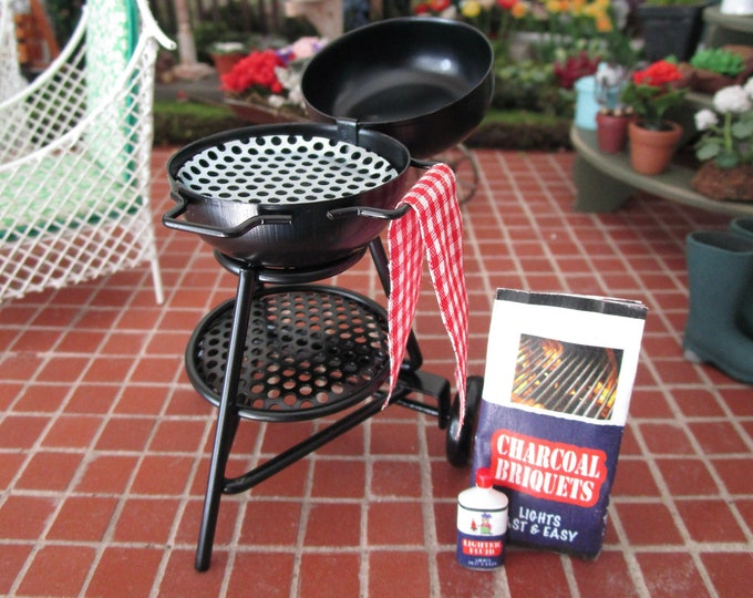 Miniature Grill Set, Mini Black Grill, Charcoal Bag And Lighter Bottle, 3 PC Set, Dollhouse Miniatures, 1:12 Scale, Mini Cooking Set