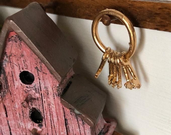 Miniature Keys, Gold Keys on Ring, Style #33, Dollhouse Miniature, 1:12 Scale, Mini Vintage Style Keys, Crafts, Dollhouse Accessory, Decor