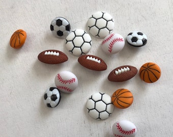 "Sport Buttons, Novelty Button Assortment by Buttons Galore ""Let's Play Ball"" Style 4070 Includes Soccer Football Baseball Basketball Buttons"