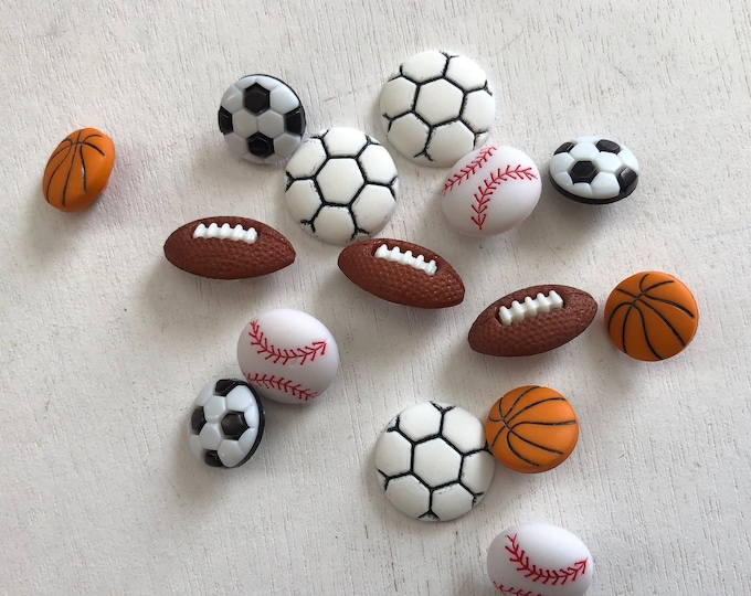 """Sport Buttons, Novelty Button Assortment by Buttons Galore """"Let's Play Ball"""" Style 4070 Includes Soccer Football Baseball Basketball Buttons"""