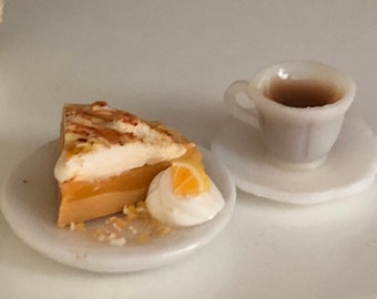 Miniature Pie & Coffee Set, Slice of Lemon Meringue Pie on Plate, Filled Coffee Cup and Saucer, Dollhouse Miniatures, 1:12 Scale, Mini Food