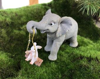 Elephant Figurine, Elephant Swing Bunny #74, Fairy Garden Accessory, Home & Garden Decor, Shelf Sitter, Topper, Gift