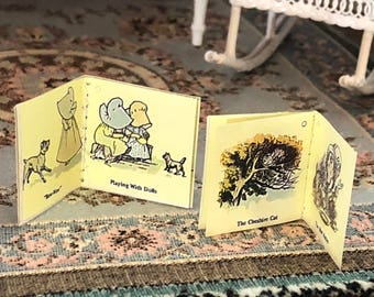 Miniature Books, Readable Books, Illustrations & Text, Alice and Sunbonnet books, Dollhouse Miniature, 1:12 Scale Books