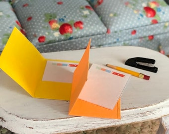 Miniature Folders, Paper, Stapler and Pencil Set, Miniature Office Supplies, Dollhouse Miniatures, 1:12 Scale, Dollhouse Accessories, Decor