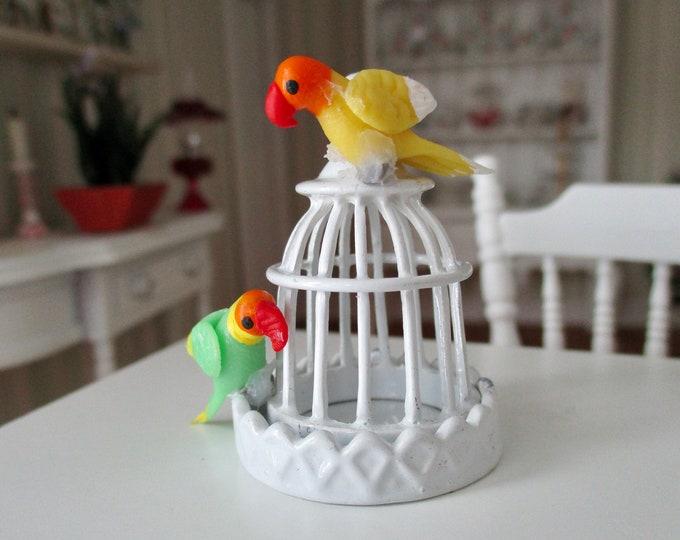 Miniature Love Birds, Mini Birds, 2 Piece Set, Dollhouse Miniature, 1:12 Scale, Dollhouse Accessory, Pet, Decor, Crafts