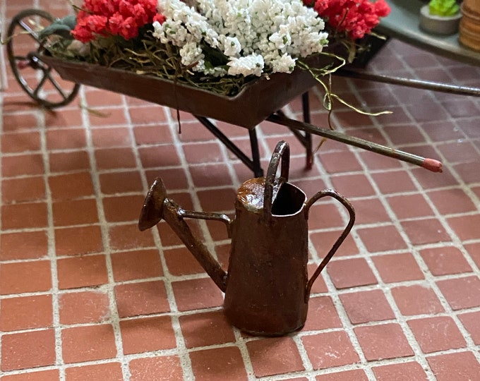 Miniature Watering Can, Rusty Look Mini Can, Dollhouse Miniature, 1:12 Scale, Dollhouse Decor, Accessory