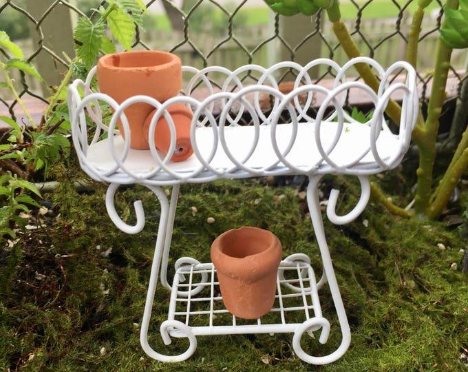 Miniature Metal Plant Stand, White Mini Plant Stand, Garden Stand, Fairy Garden Accessory, Miniature Garden Dollhouse Decor