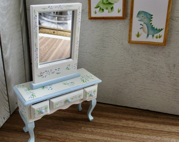 Miniature Vanity And Mirror Set, Mini Hand Painted White and Blue Vanity Set, Dollhouse Miniature Furniture, 1:12 Scale, 2 Piece Set