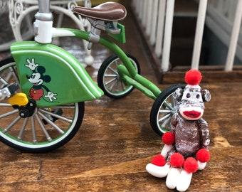 Miniature Sock Monkey Toy, Mini Monkey, Dollhouse Miniature, 1:12 Scale, Dollhouse Accessory,Decor