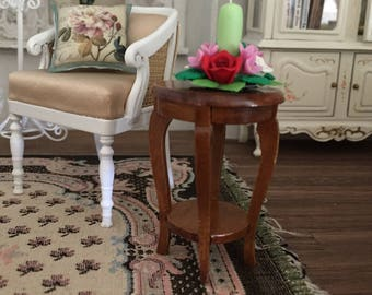 Miniature Radner Side Table, Walnut Table, Dollhouse Miniature, 1:12 Scale, Dollhouse Furniture, Mini Table