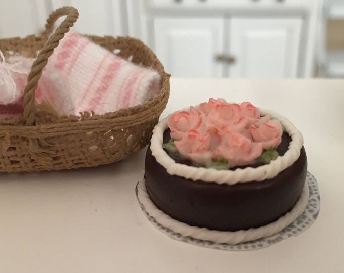 Miniature Chocolate Cake, Pink Roses and White Frosting, Style 3657, Dollhouse Miniature, 1:12 Scale, Miniature Food, Pretend Cake