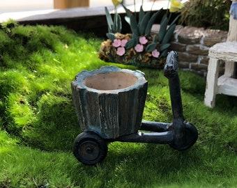 Mini Bicycle Planter, Wood Look Distressed Planter, Fairy Garden Accessory, Miniature Garden Decor, Shelf Sitter, Crafts, Topper