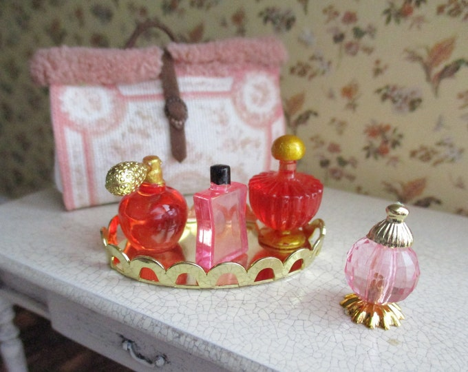 Miniature Perfume Set, Mini Perfume Bottles and Gold Dresser Tray, 5 Piece Set, Dollhouse Miniature, 1:12 Scale, Dollhouse Accessory, Decor